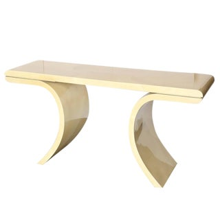 Lacquered Goat Skin Console Table in the Manner of Karl Springer