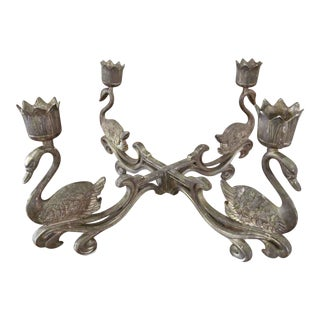 Steel Swan Four Candle Holder