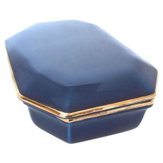 Raymor Vintage Italian Blue Lidded Ceramic Box