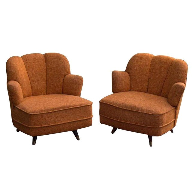 Mid Century Scalloped Slipper Swivel Chairs A Pair