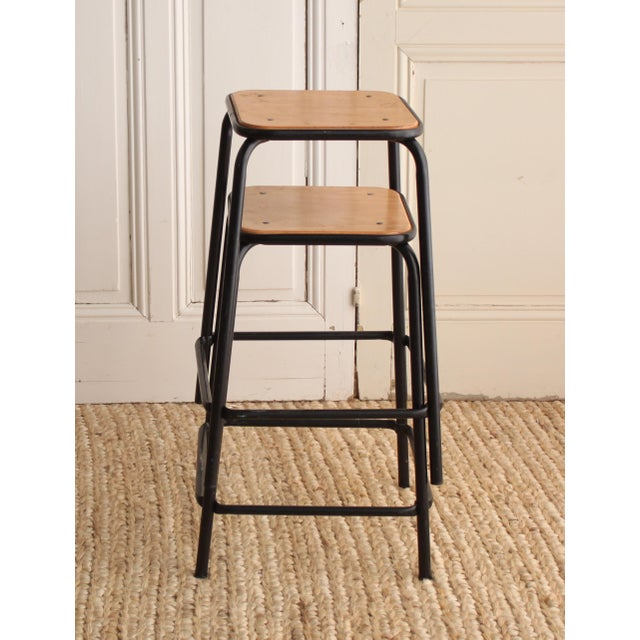 Vintage French Schoolhouse Stool - A Pair - Image 2 of 4