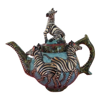 Ceramic African Zebra Teapot