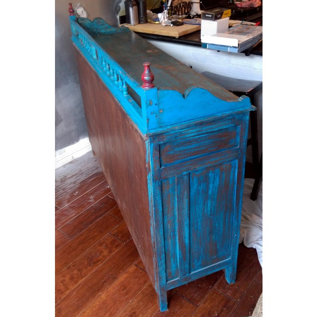 Reclaimed Wood & Antiqued Mirror Farm House Buffet - Image 5 of 11