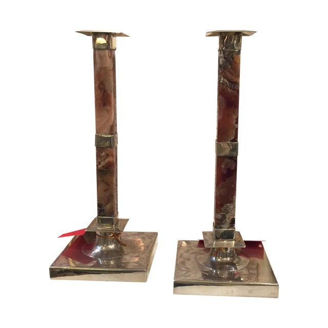 Onyx & Silver Candlesticks- A Pair - Image 1 of 9