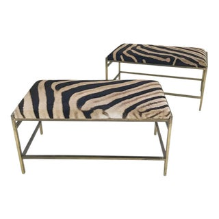 McCobb Style Brass Benches in Zebra Hide - A Pair
