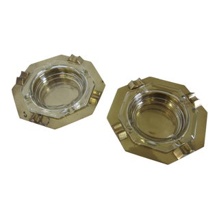 Vintage Brass & Glass Ashtrays - A Pair