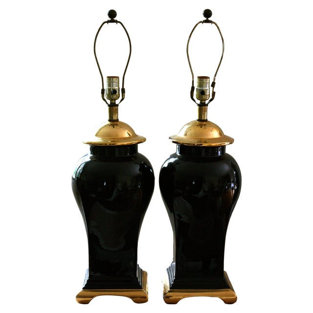 Image of Mid-Century Black & Gold Glam Lamps - A Pair