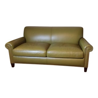 Olive Green Leather Sofa by Hancock & Moore