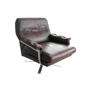 Arne Norell Hand-Stitched Leather Lounge Chair