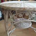 Image of Vintage White Wicker Side Table
