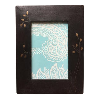 Vintage Wood & Brass Inlay Picture Frame