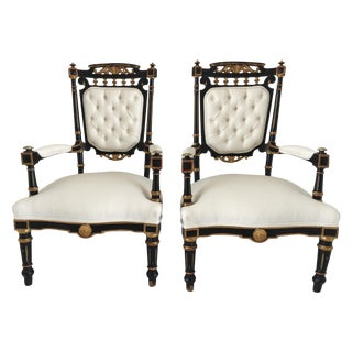 19th Century Ebonized and Gilded Chairs - Pair