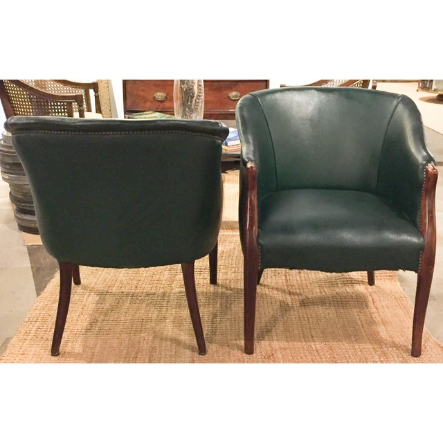 Green Barrel Chairs, Nail Head Trim - Pair - Image 4 of 9