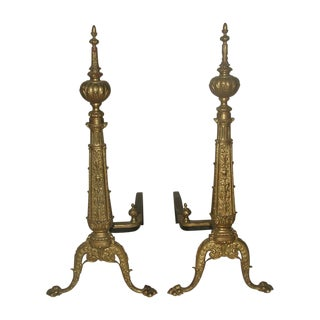 Early 1900s Brass Andirons - A Pair