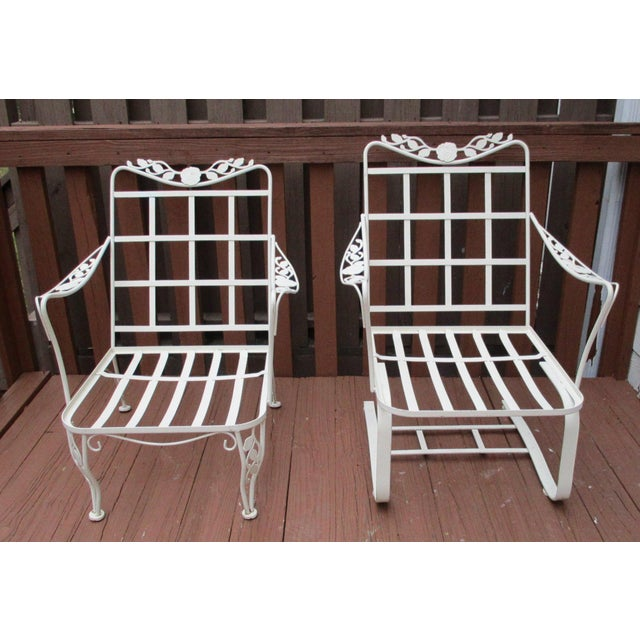 Vintage Russell Woodard Wrought Iron Chairs - Pair - Image 5 of 11