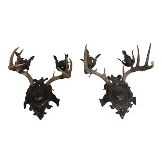 Antique Deer Antler Medieval Sconces - A Pair