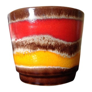 Red & Yellow Mid-Century German Pottery Vase