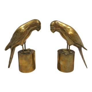 Vintage Brass Hollywood Glam Parrot Bookends - A Pair