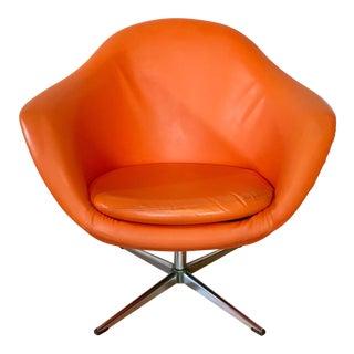Mid Century Modern Overman Pod Chair Orange Swivel Club Chair Early 1960's Swedish European MCM