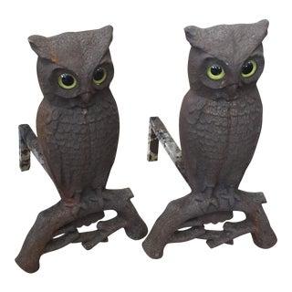 Iron Owl Andirons