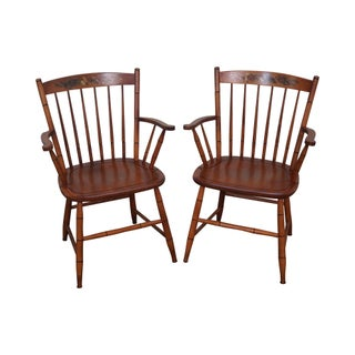 Hitchcock Solid Maple Stenciled Arm Chairs - A Pair