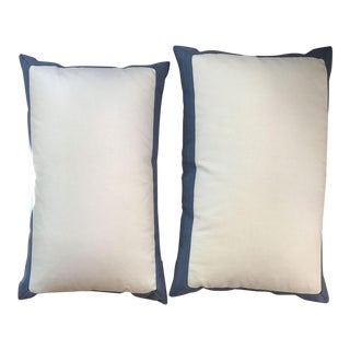 Glazed White Linen Pillows With Blue Stripe Tape - a Pair