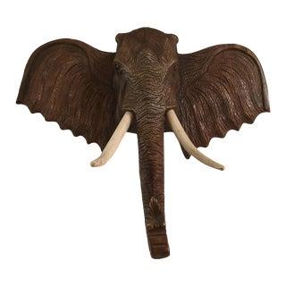 Large Teak Elephant Head