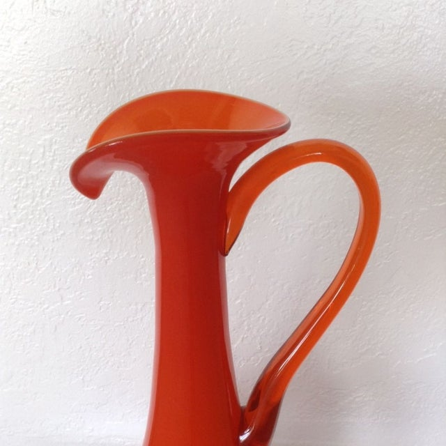 Image of Tall Tangerine Teardrop Glass Ewer