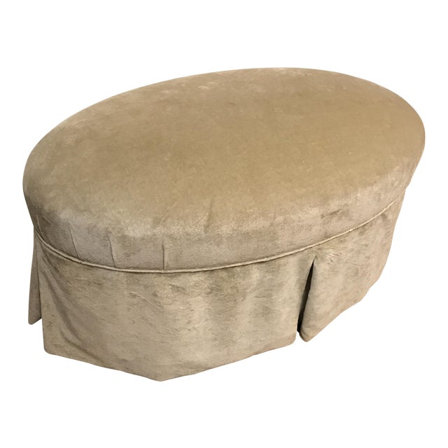 Image of Contemporary Oval Upholstered Ottoman