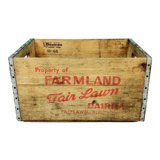 Vintage 1966 Fairlawn Dairy NJ Wooden Milk Bottle Crate