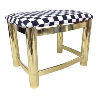 Milo Baughman Style Hollywood Regency Brass Stool