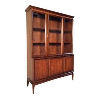 Mid-Century Modern Walnut China Cabinet / Bookcase