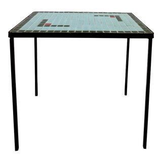 Mid-Century Modern Indoor Outdoor Tile Top Iron Side Table