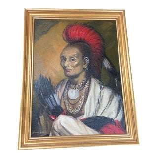 """""""Native Chief"""" Signed Oil on Board Painting"""