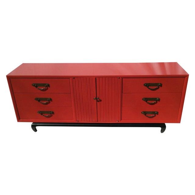 American of Martinsville Vintage Asian Red Dresser - Image 1 of 11