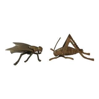Brass Fly Box & Grasshopper - a Pair