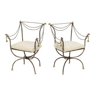 Pair of Steel and Brass Campaign Chairs