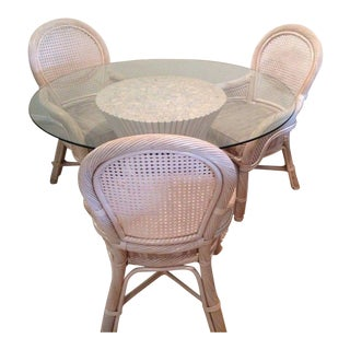 McGuire of San Francisco Sheaf of Wheat Rattan Dining Table and Chairs