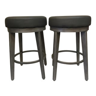 Gray Metal Counter Swivel Stools - a Pair