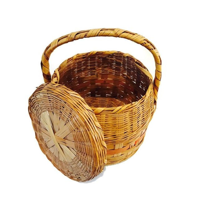 Vintage Mexican Hand Woven Lidded Basket - Image 2 of 6