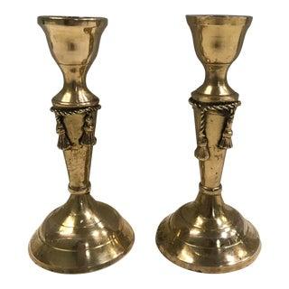 Brass Tassel Candlesticks - A Pair