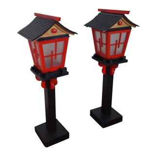 Vintage Asian Style Pagoda Top Floor Lamps - Pair