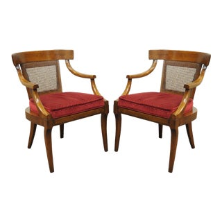 Vintage Regency Curved Cane Back Mahogany Saber Leg Dining Arm Chairs - a Pair