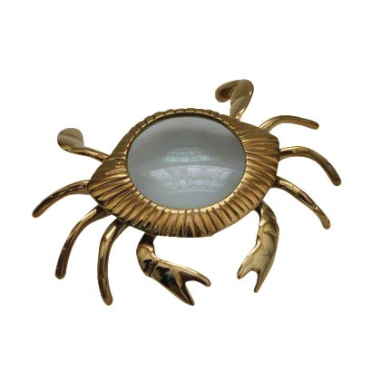 Image of Brass Crab Magnifying Glass Paperweight