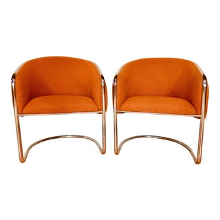 Orange Thonet Cantilevered Barrel Chairs - A Pair