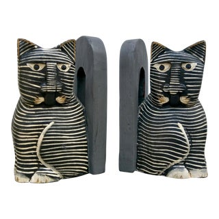 Folk Art Cat Bookends - A Pair