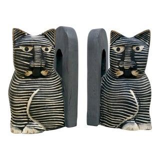Folk Art Cat Bookends - A Pair