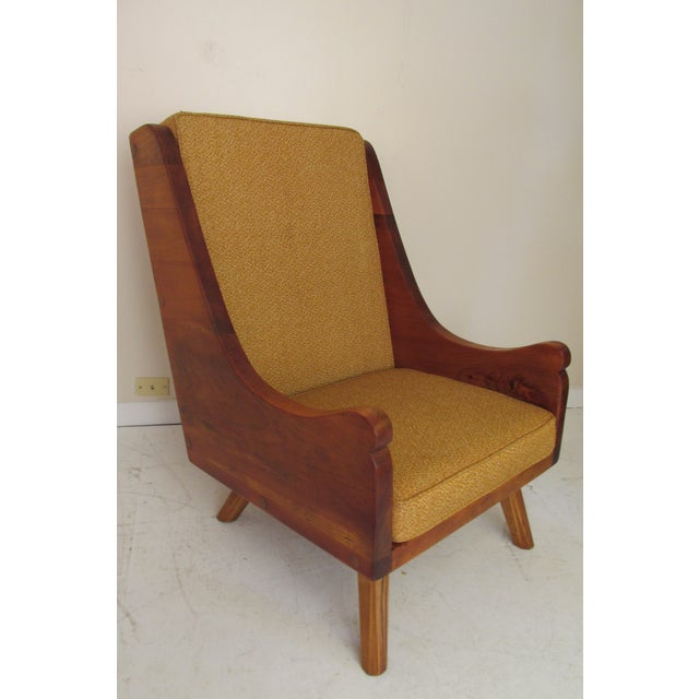 Rustic Modern Ochre Lounge Chair & Ottoman - Image 6 of 7