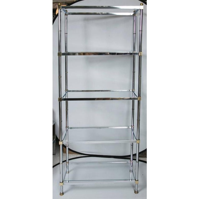 Maison Jensen Style Brass and Chrome Etagere - Image 2 of 7