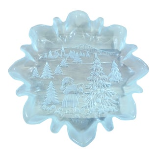 Mikasa Frosted Christmas Scene Glass Serving Dish